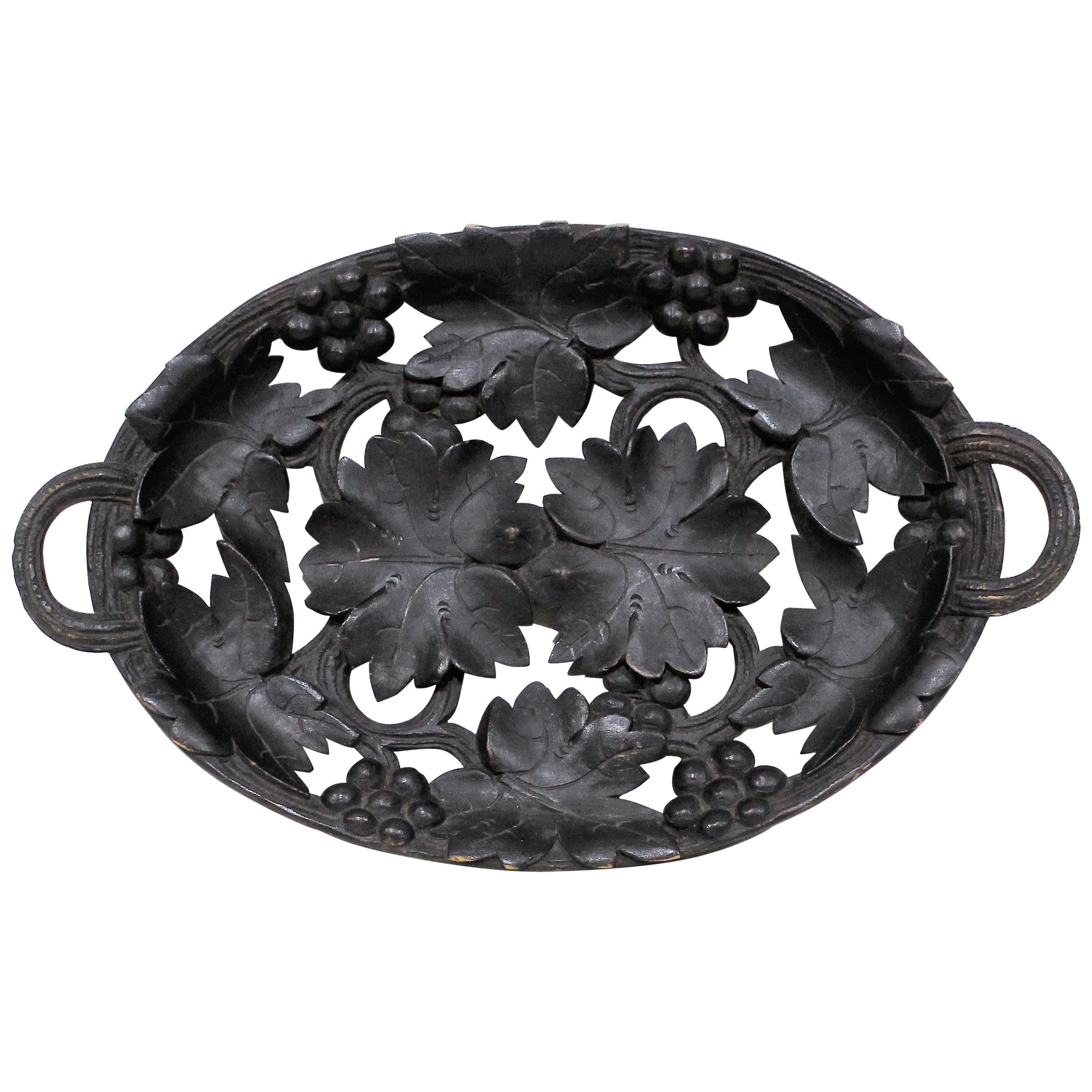19th Century Black Forest Carved Walnut Serving Tray or Bowl
