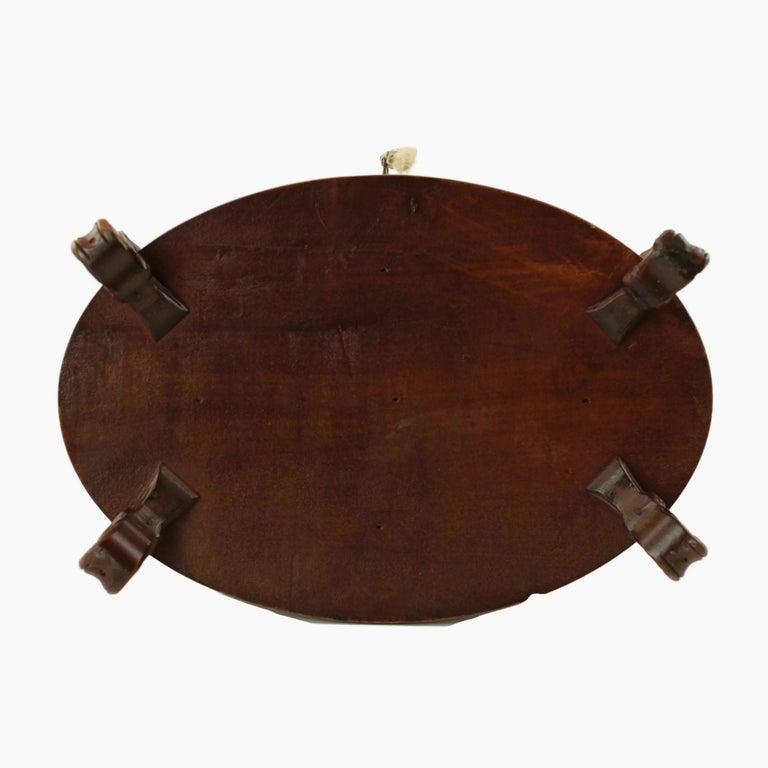 19th Century Black Forest Carved Wood Dog Motif Velvet Lined Casket with Key For Sale 8