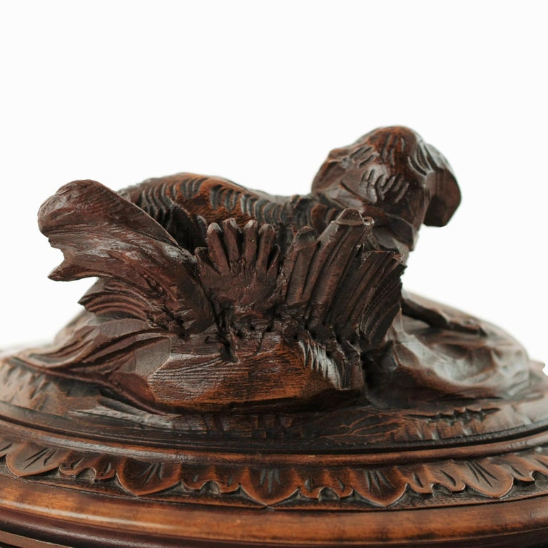 French 19th Century Black Forest Carved Wood Dog Motif Velvet Lined Casket with Key For Sale