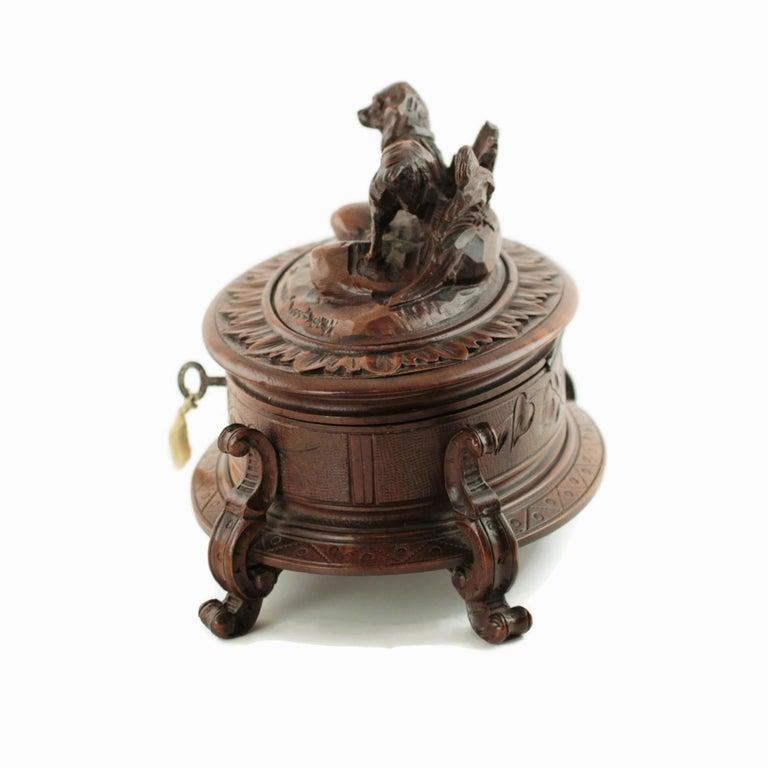 19th Century Black Forest Carved Wood Dog Motif Velvet Lined Casket with Key For Sale 1