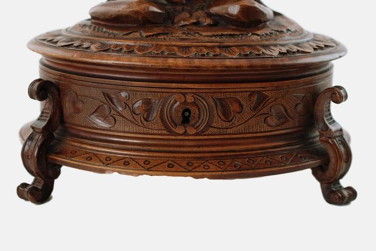 19th Century Black Forest Carved Wood Dog Motif Velvet Lined Casket with Key For Sale 4