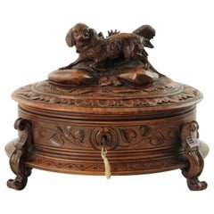 19th Century Black Forest Carved Wood Dog Motif Velvet Lined Casket with Key