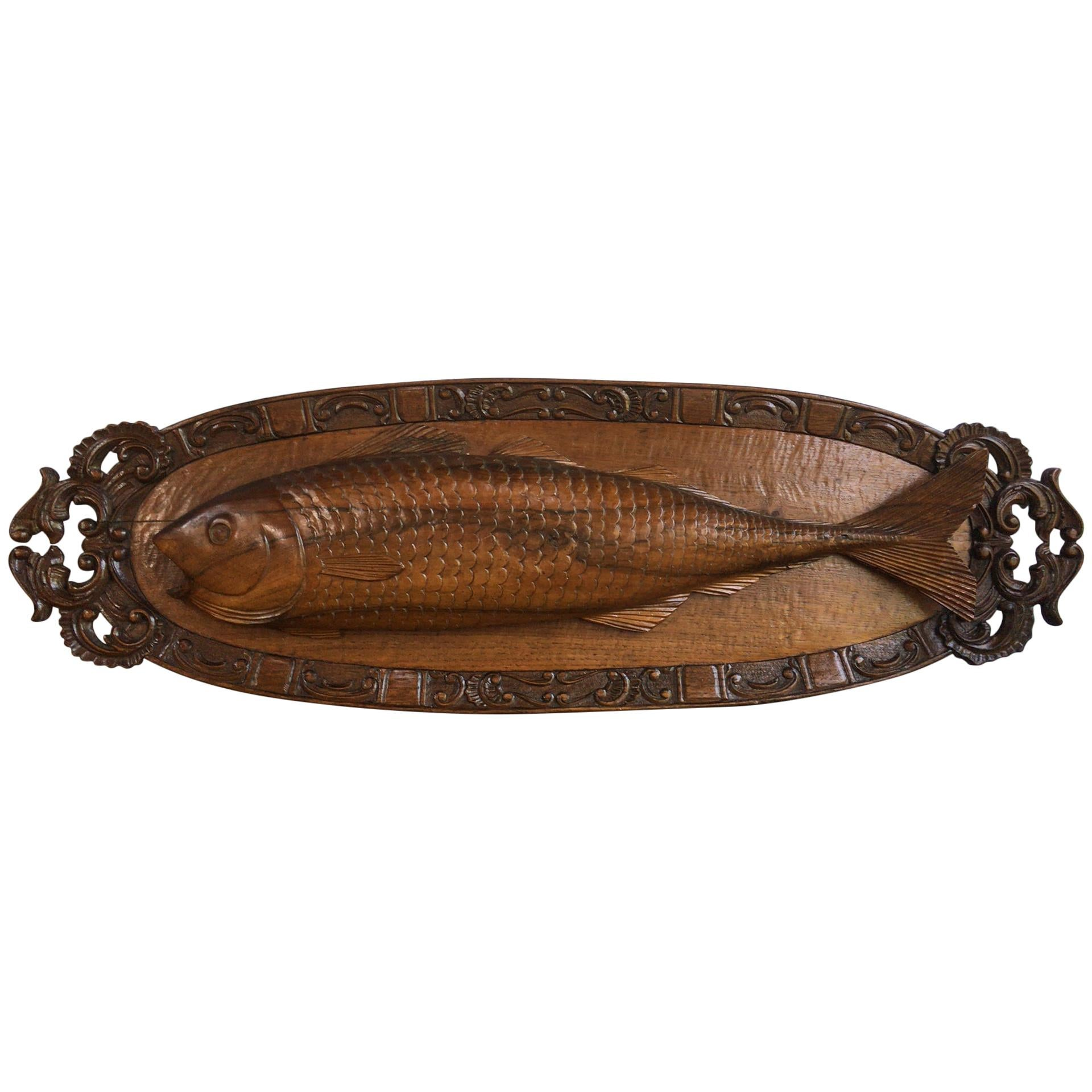 19th Century Black Forest Carved Wood Fish Trophy Wall Plaque