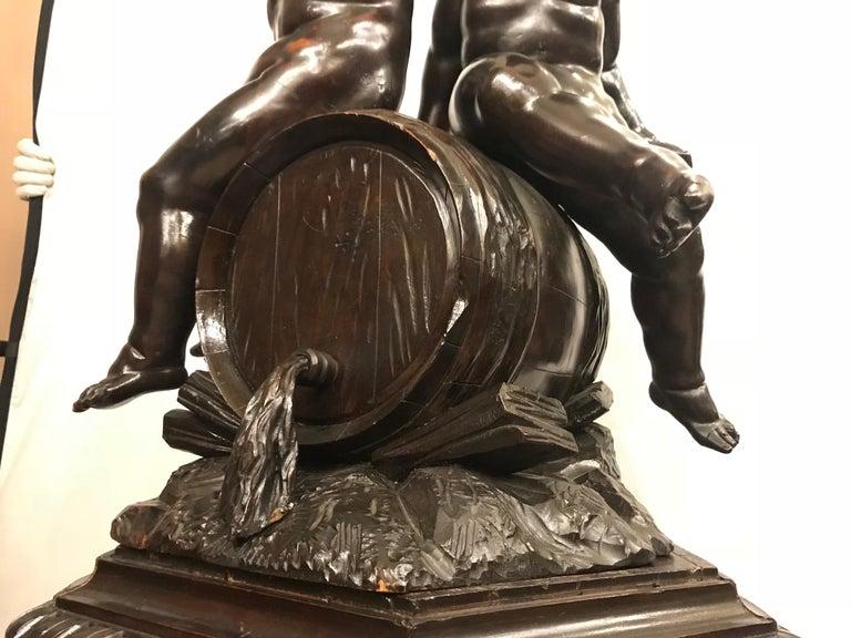 19th Century Black Forest Carving on Pedestal of Two Drunken Cherubs For Sale 3