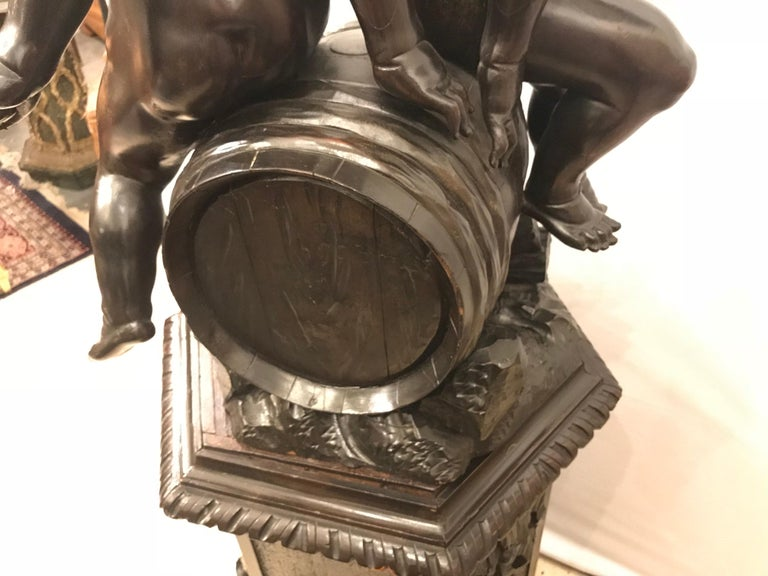 19th Century Black Forest Carving on Pedestal of Two Drunken Cherubs For Sale 4