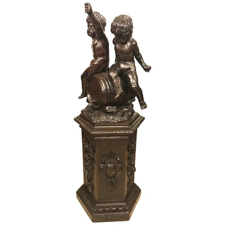 19th Century Black Forest Carving on Pedestal of Two Drunken Cherubs For Sale