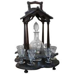 19th Century Black Forest Hand-Carved French Liqueur Stand