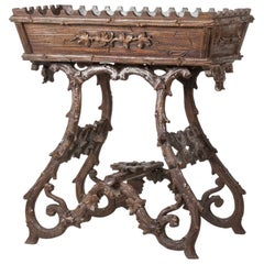19th Century Black Forest Plant Stand, Jardinière Carved Chestnut Wood