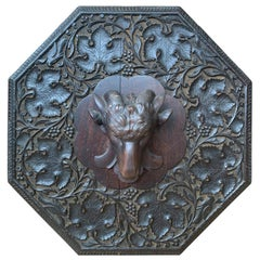 19th Century Black Forest Ram Head Mounted on Later Carved Octagonal Backplate