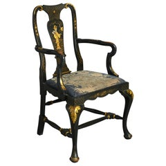 19th Century Black Japanned Chinoiserie Queen Anne Style Armchair