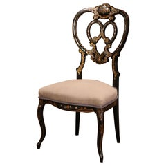 19th Century Black Lacquered and Gilt Chair with Mother of Pearl Decor