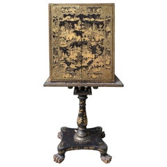 19th Century Black Lacquered and Gilt Chinoiserie Cabinet on Pedestal Stand