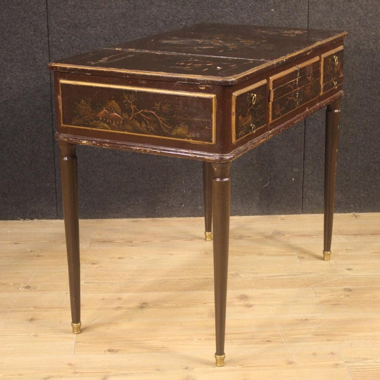 Brass 19th Century Black Lacquered Chinoiserie Wood French Dressing Table, 1880 For Sale