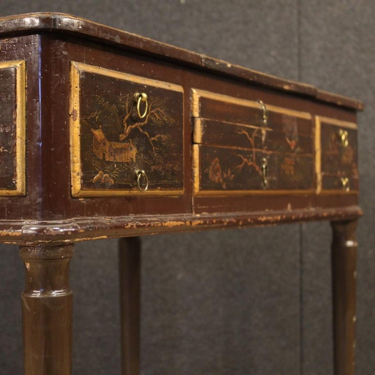19th Century Black Lacquered Chinoiserie Wood French Dressing Table, 1880 For Sale 1