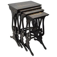 19th Century Black Lacquered & Gold Chinoiserie Nesting Tables