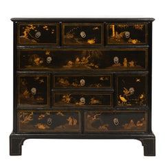 19th Century Black Lacquered Japanese Chest of Drawers
