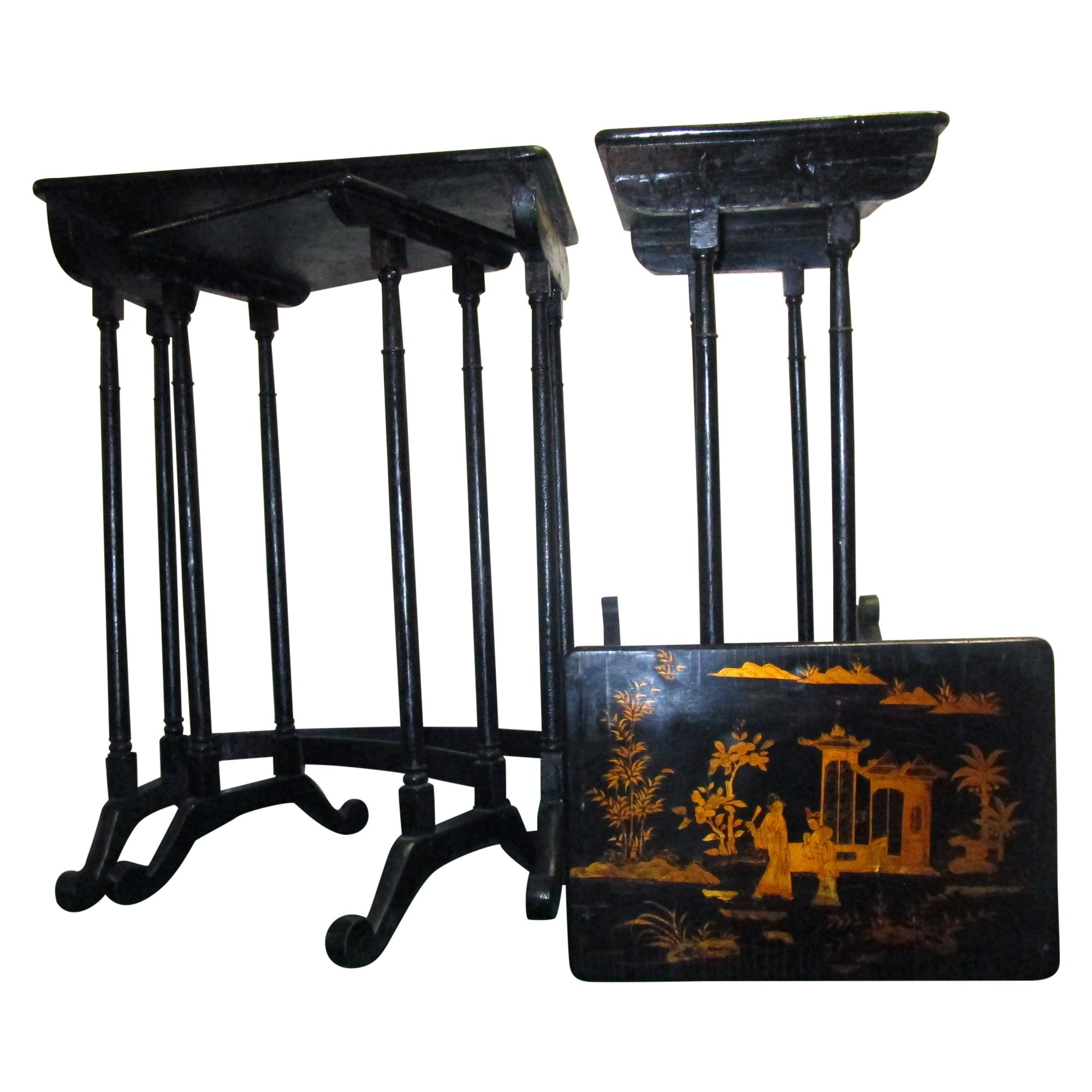 19th Century Black Lacquered Japanned Chinoiserie Nesting Tables Set of Four