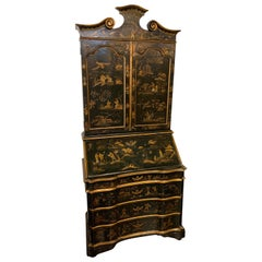 19th Century Black Lacquered Secretary with Raised Chinoiserie Design