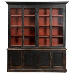 19th Century Black Painted French Library Breakfront 'Moderne' Bookcase