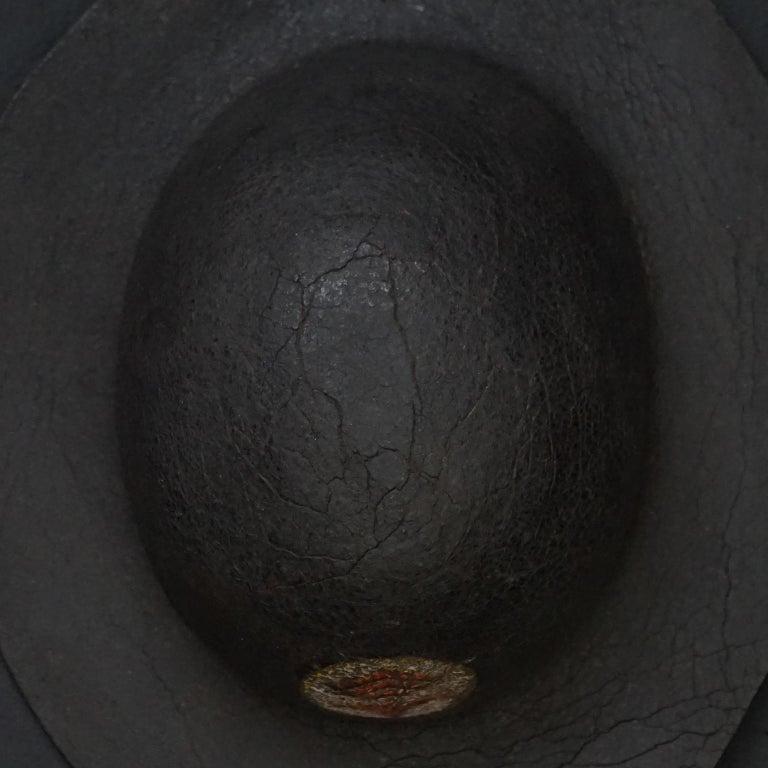 19th Century Black Painted Leather French Primitive Fire Helmet Casque Pompier For Sale 1
