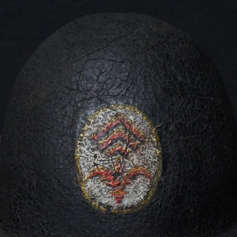 19th Century Black Painted Leather French Primitive Fire Helmet Casque Pompier For Sale 2