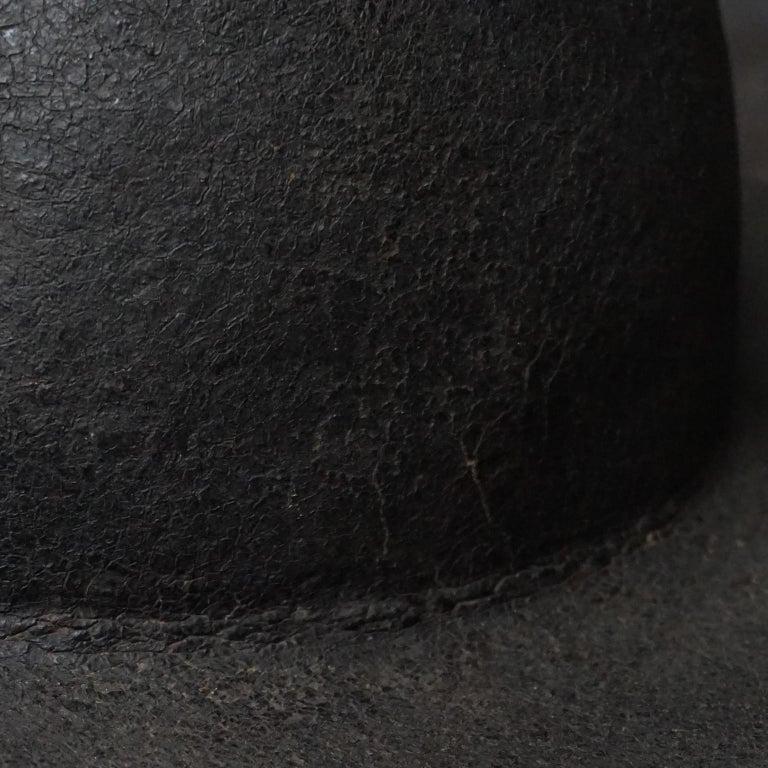 19th Century Black Painted Leather French Primitive Fire Helmet Casque Pompier For Sale 5