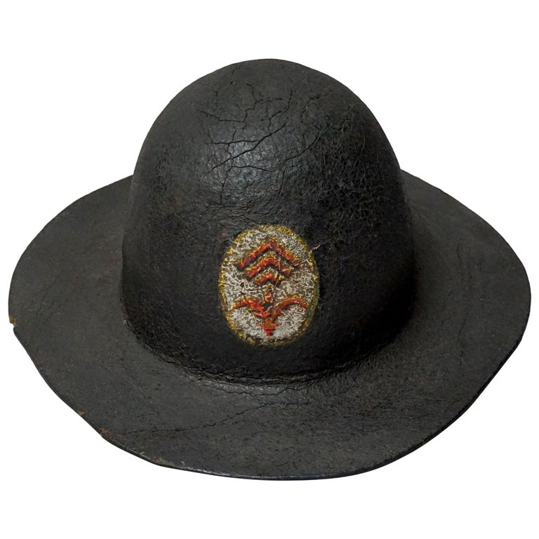 19th Century Black Painted Leather French Primitive Fire Helmet Casque Pompier For Sale