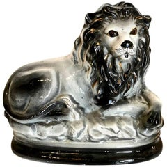 19th Century Black Staffordshire Lion