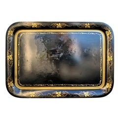 19th Century Black Tole Tray with Gilt Flower Border