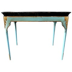 19th Century Black, Turquoise Swedish Gustavian Tray Table, Pinewood Side Table