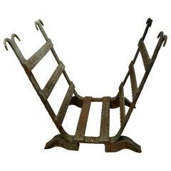19th Century Blacksmith Made Inglenook Iron Log Carrier
