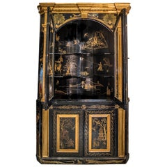 19th Century Blackwood and Goldwood Chinoiseries British Corner Cupboard, 1860