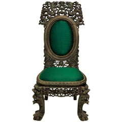 19th Century Bleached Hardwood Chinese Chair in Emerald Silk
