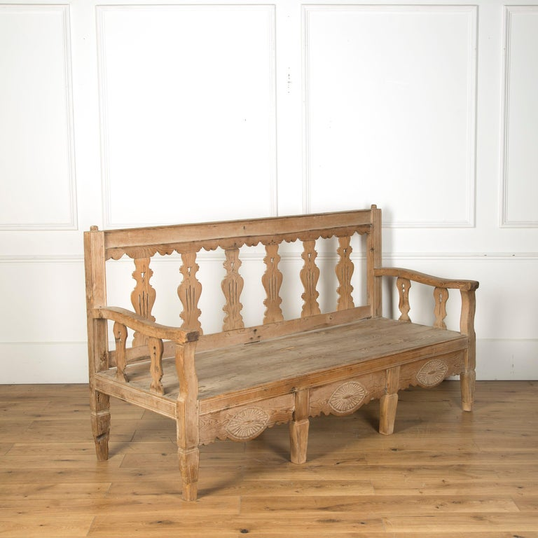 A 19th century Spanish bleached bench, circa 1880.