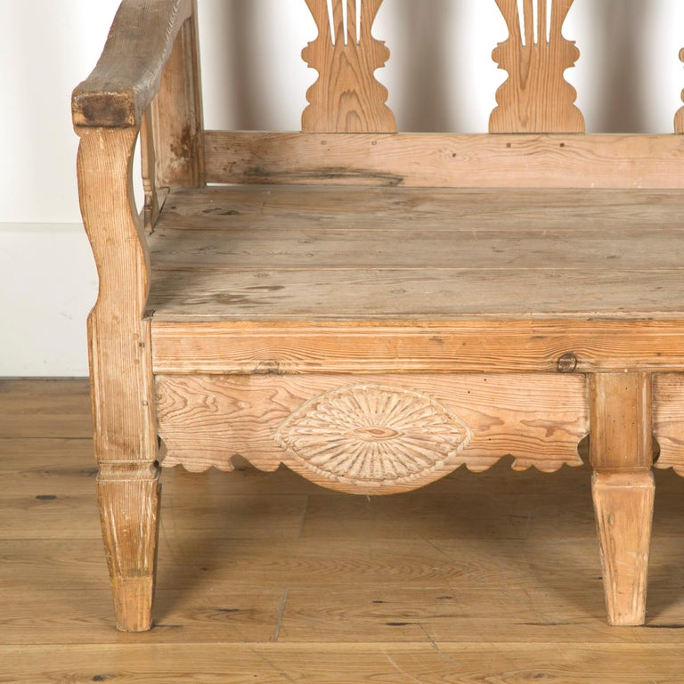 Wood 19th Century Bleached Spanish Bench For Sale