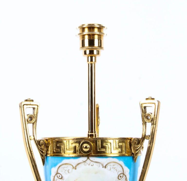 Gilt 19th Century Bleu Celeste Sèvres Porcelain Ormolu Lamp For Sale