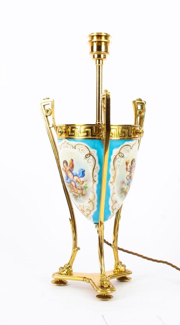 19th Century Bleu Celeste Sèvres Porcelain Ormolu Lamp For Sale 1