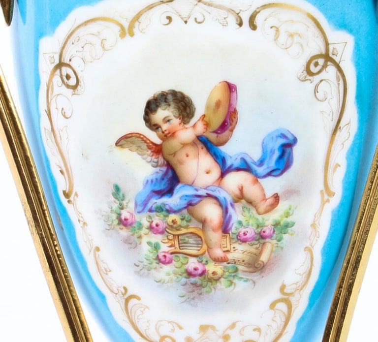 19th Century Bleu Celeste Sèvres Porcelain Ormolu Lamp For Sale 3