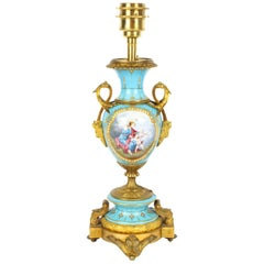 19th Century Bleu Celeste Sevres Porcelain Ormolu Table Lamp