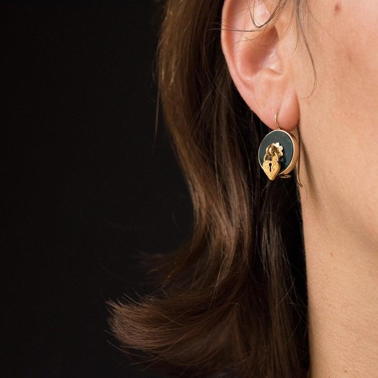 19th Century Blood Jasper Sentimental Padlock Drop Earrings For Sale 5
