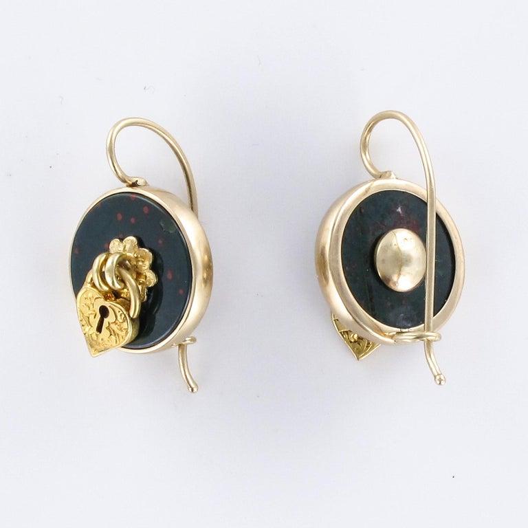 19th Century Blood Jasper Sentimental Padlock Drop Earrings For Sale 6