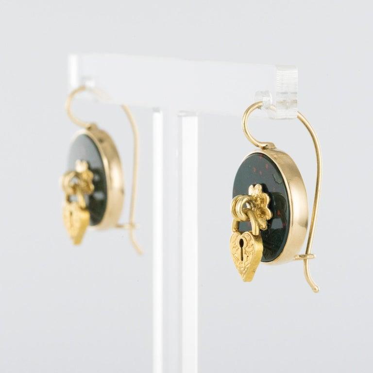Victorian 19th Century Blood Jasper Sentimental Padlock Drop Earrings For Sale