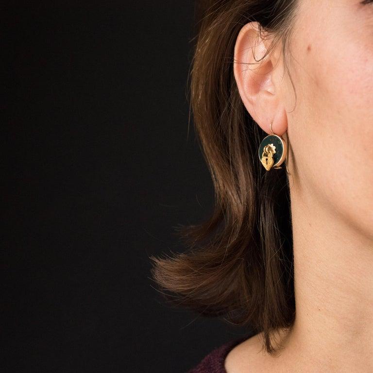 19th Century Blood Jasper Sentimental Padlock Drop Earrings In Good Condition For Sale In Poitiers, FR