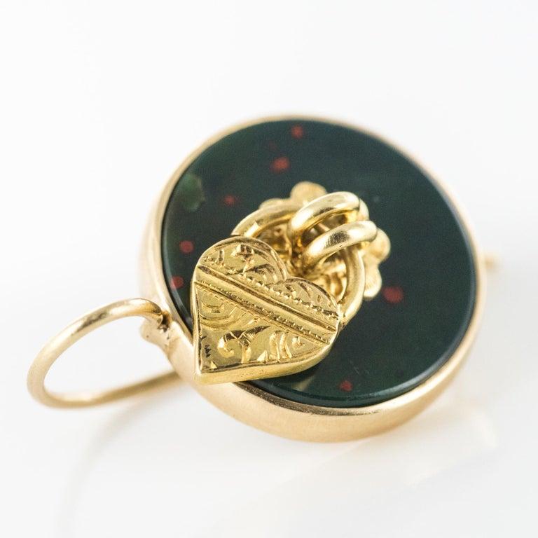 Women's 19th Century Blood Jasper Sentimental Padlock Drop Earrings For Sale
