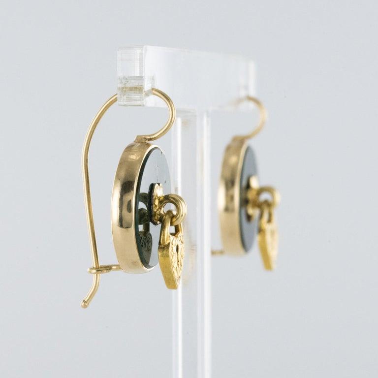 19th Century Blood Jasper Sentimental Padlock Drop Earrings For Sale 1