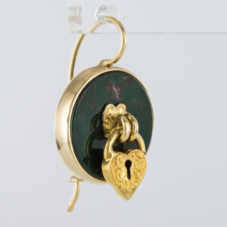 19th Century Blood Jasper Sentimental Padlock Drop Earrings For Sale 4