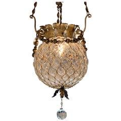 19th Century Blown Glass and Gilt Tole Lantern