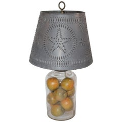 19th Century Blown Glass Lamp with Vintage Punched  Tin Shade