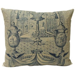 19th Century Blue and Natural Toile Decorative Pillow