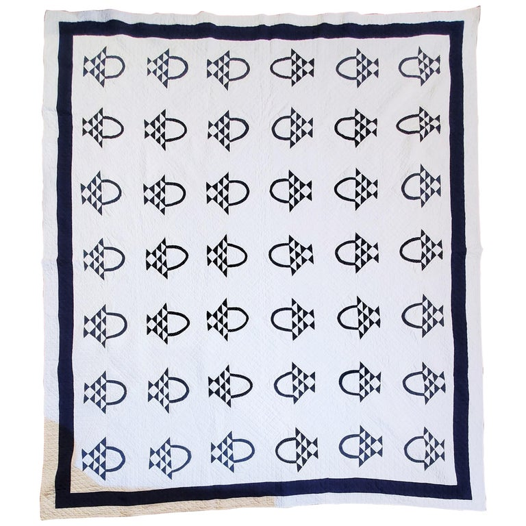 19th Century Blue and White Baskets Quilt For Sale